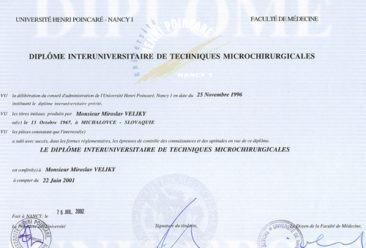 Dr-Miroslav-Veliky-Diploma-Michrochirurgie
