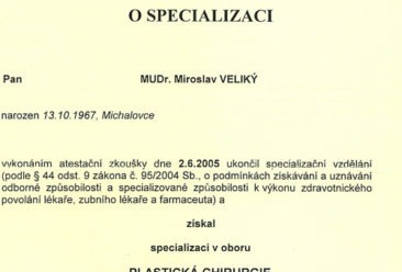Dr-Miroslav-Veliky-Dipoloma-specialisation-in-cosmetic-plastic-surgery-Ministry-of-health-Czech-Republic